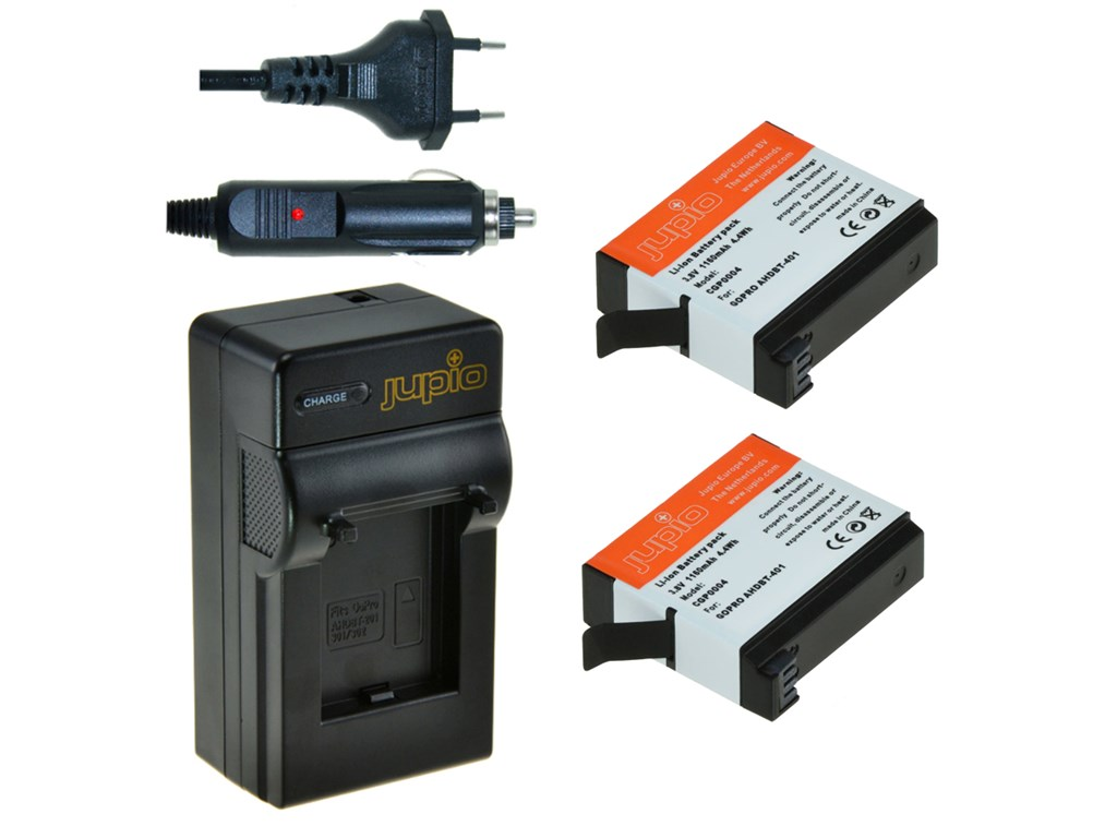 Jupio 2x Battery GoPro AHDBT-401 HERO4 1160 mAh+Charger